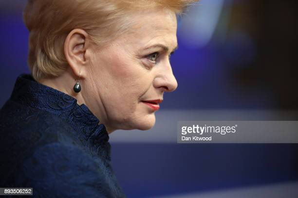 President of Lithuania Dalia Grybauskaite arrives for the European Union leaders summit at the European Council on December 14 2017 in Brussels...