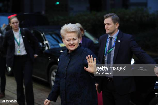 President of Lithuania Dalia Grybauskaite arrives for the second day of the European Union leaders summit at the European Council on December 15 2017...