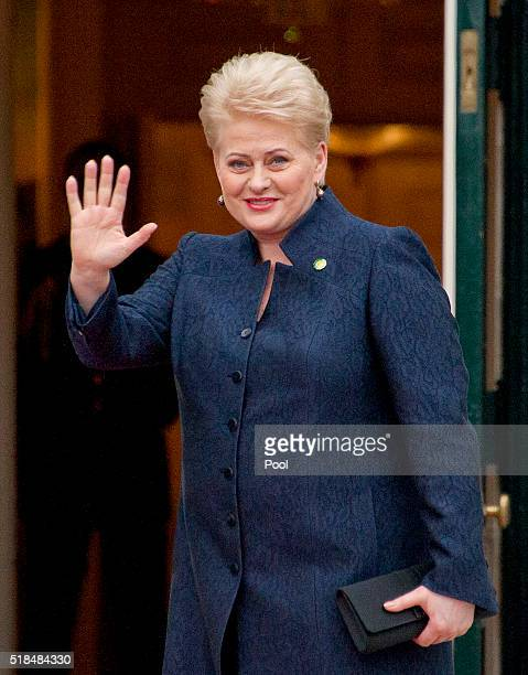 President of Lithuania Dalia Grybauskaite arrives for the working dinner for the heads of delegations at the Nuclear Security Summit on the South...
