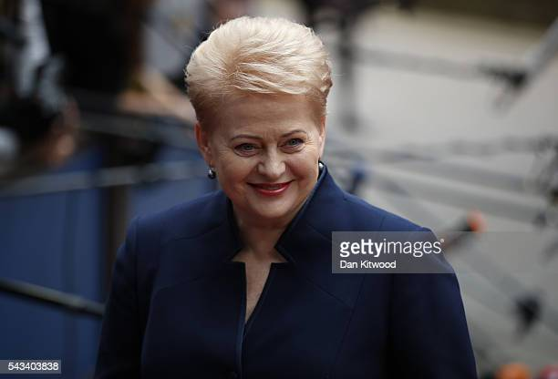 President of Lithuania Dalia Grybauskaite attends a European Council Meeting at the Council of the European Union on June 28 2016 in Brussels Belgium...