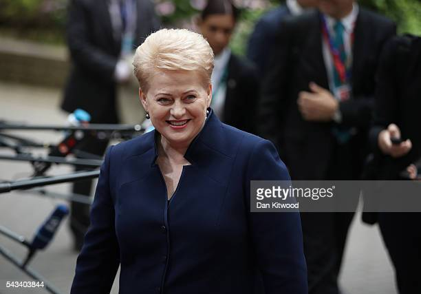 President of Lithuania Dalia Grybauskaite attends a European Council Meeting at the Council of the European Union on June 28, 2016 in Brussels,...