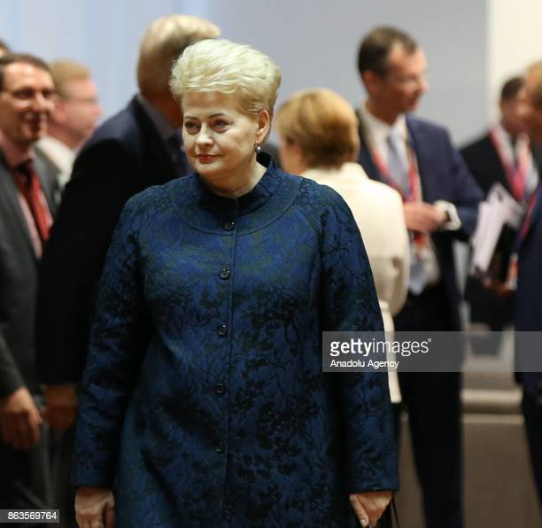 President of Lithuania Dalia Grybauskaite attends the European Council Meeting at the Council of the European Union building on October 20 2017 in...