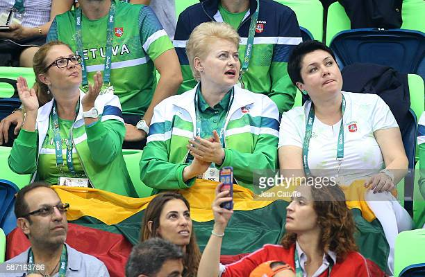 President of Lithuania Dalia Grybauskaite attends the swimming finals on day 2 of the Rio 2016 Olympic Games at Olympic Aquatics Stadium on August 7...