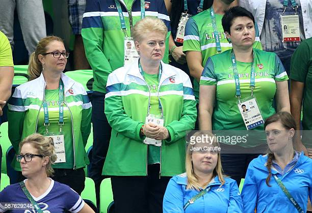 President of Lithuania Dalia Grybauskaite attends the swimming finals on day 3 of the Rio 2016 Olympic Games at Olympic Aquatics Center on August 8...