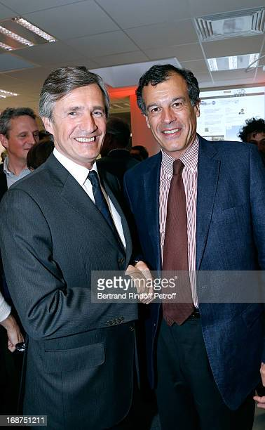 President of L'Opinion Nicolas Beytout and CEO of CLub Mediterranee Henri Giscard d'Estaing attend 'L'Opinion' Newspaper Launch Party on May 14 2013...