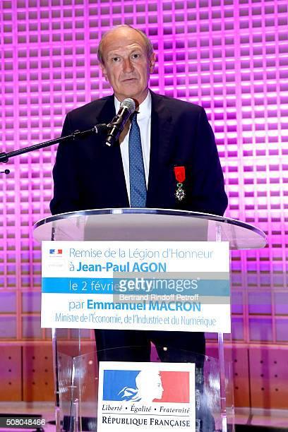 """President of l'Oreal Jean-Paul Agon receives Insignia of Officer of the Legion of Honor at """"Ministere de l'Economie, de l'Industrie et du Numerique""""..."""
