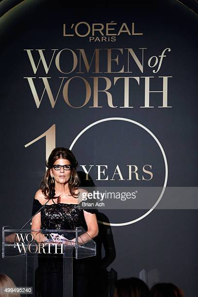 President of L'Oreal Paris USA Karen T Fondu speaks onstage at the L'Oreal Paris Women of Worth 2015 Celebration Inside at The Pierre Hotel on...