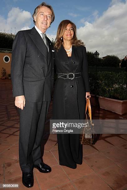 President of LUISS University and Ferrari chairman Luca Cordero Di Montezemolo greets the President of Confindustria Emma Marcegaglia at the end of...