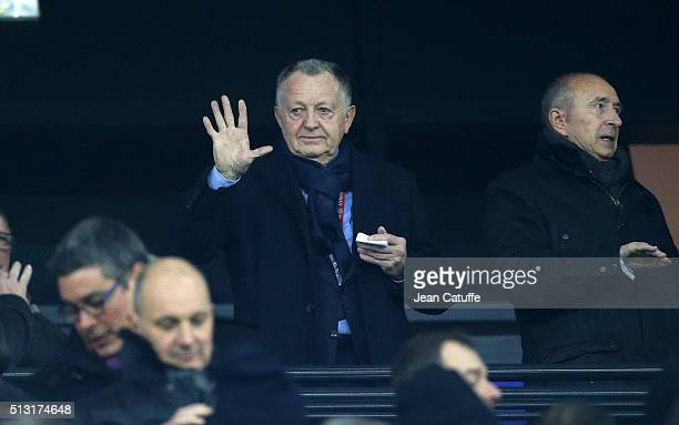 President of Lyon JeanMichel Aulas attends the French Ligue 1 match between Olympique Lyonnais and Paris SaintGermain at Parc Olympique Lyonnais...
