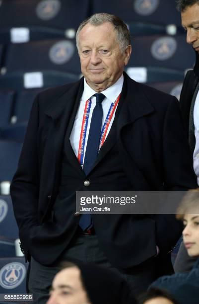 President of Lyon JeanMichel Aulas attends the French Ligue 1 match between Paris SaintGermain and Olympique Lyonnais at Parc des Princes stadium on...