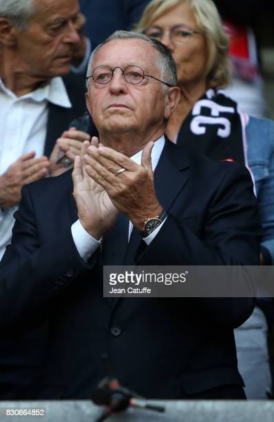 President of Lyon JeanMichel Aulas during the French Ligue 1 match between Stade Rennais and Olympique Lyonnais at Roazhon Park on August 11 2017 in...