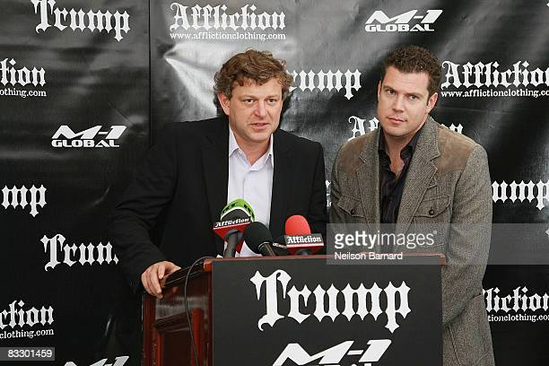 President of M1 Global Vadim Finkelchtein attends the announcement of the new MMA reality series Fighting Fedor at Trump Tower on October 16 2008 in...