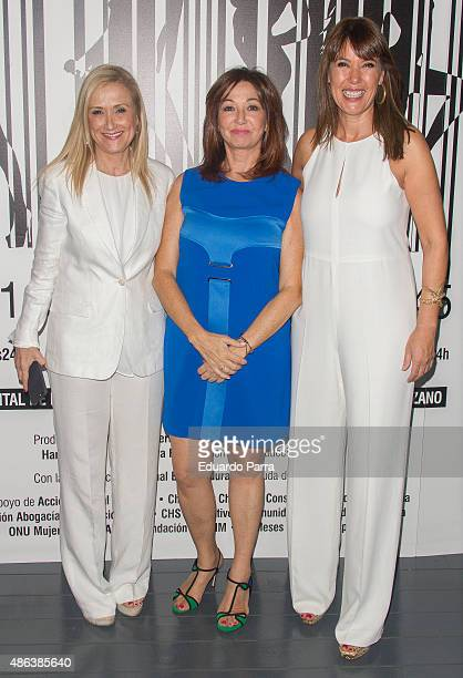 President of Madrid Cristina Cifuentes journalist Ana Rosa Quintana and actress Mabel Lozano attend 'Chicas nuevas 24 horas' premiere at Matadero...