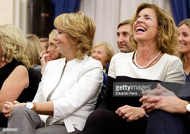 President of Madrid Esperanza Aguirre and councilwoman Ana Botella attend the 10th annual Capons Benefit auction benefiting young people with special...