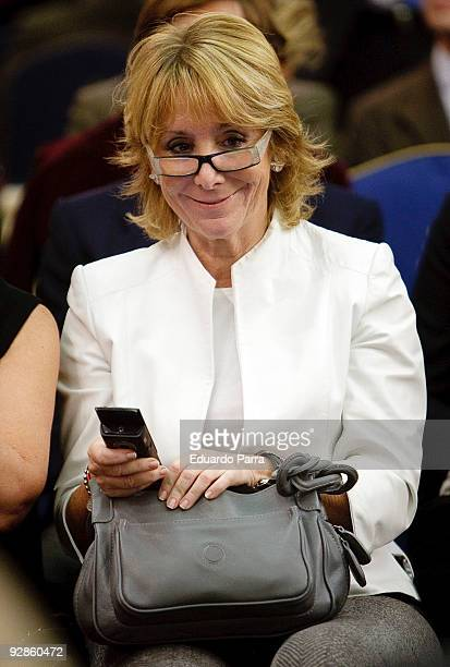 President of Madrid Esperanza Aguirre attends the 10th annual Capons Benefit auction benefiting young people with special needs at the Hotel Ritz on...