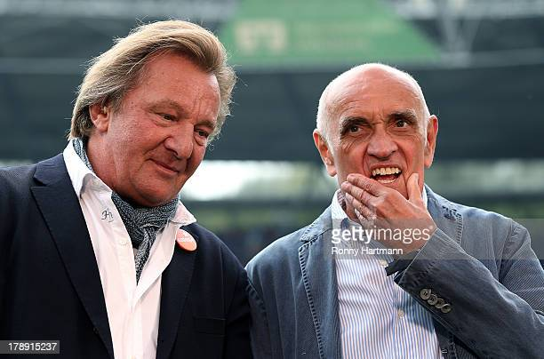 President of Mainz 05 and DFB board member Harald Strutz and president of Hannover Martin Kind look on prior to the Bundesliga match between Hannover...