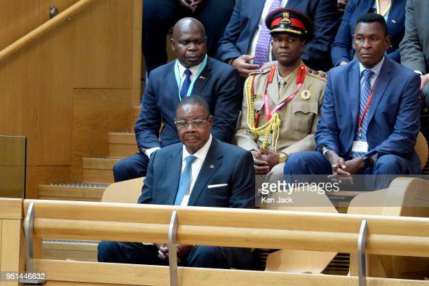 President of Malawi Peter Mutharika in the gallery of the Scottish Parliament during a visit to the Parliament on April 26 2018 in Edinburgh Scotland