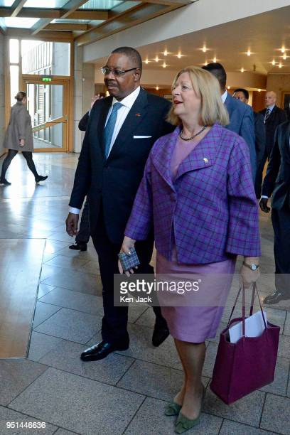 President of Malawi Peter Mutharika on a visit to the Scottish Parliament accompanied by Deputy Presiding Officer Linda Fabiani on April 26 2018 in...