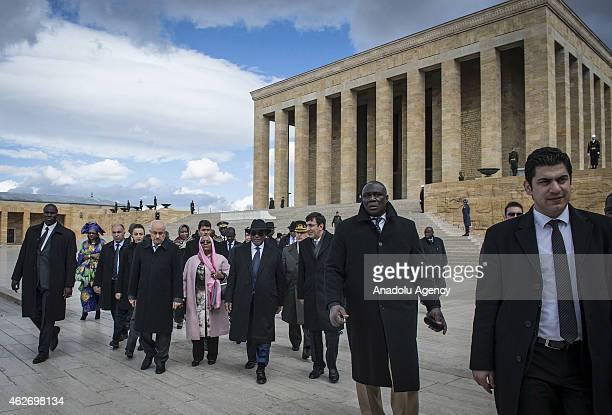 President of Mali Ibrahim Boubacar Keita visits Anitkabir the mausoleum of Turkey's founder Mustafa Kemal Ataturk as part of his official visit to...