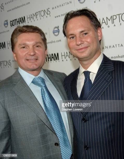 President of Manhattan Automobile Company Gary Flom and CEO and founder of Niche Media Jason Binn at the Hamptons Magazine launch party for the new...