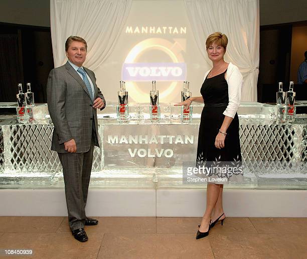 President of Manhattan Automobile Company Gary Flom and President of Volvo North America Anne Belec at the Hamptons Magazine launch party for the new...