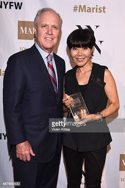 President of Marist College Dennis Murray and Fashion Designer Son Jung Wan who holds her Silver Needle Award at Son Jung Wan Spring 2016 during New...