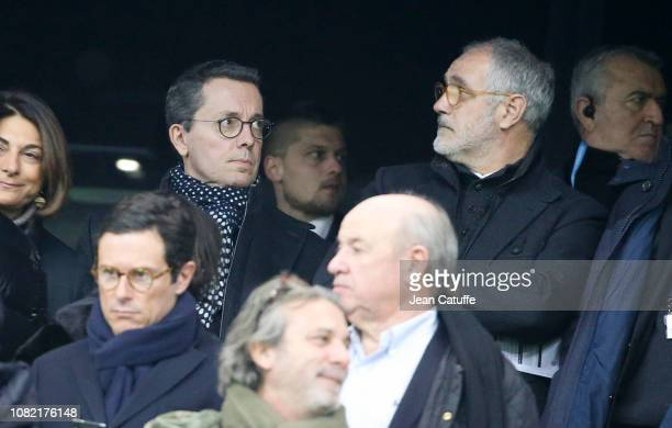 President of Marseille JacquesHenri Eyraud Sports Director of Marseille Andoni Zubizarreta attend the french Ligue 1 match between Olympique de...
