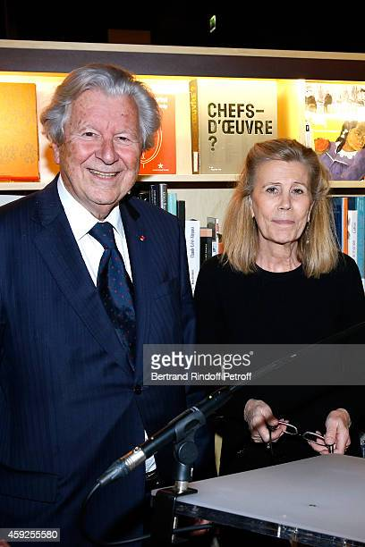 President of 'Martine Aublet Foundation Bruno Roger and Miss Louis Schweitzer attend the Presentation of 'Martine Aublet Foundation' Grants 2014 Held...