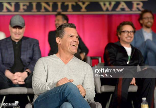 President of Marvel Studios and Producer Kevin Feige actors Mark Ruffalo Josh Brolin Robert Downey Jr and Tom Hiddleston attend the Global Press...