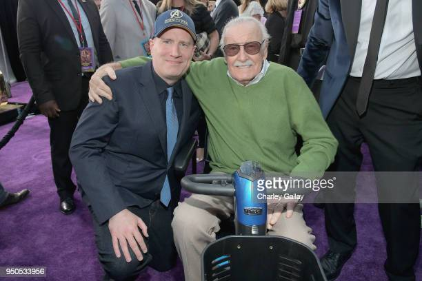 President of Marvel Studios and Producer Kevin Feige and producerwriter Stan Lee attend the Los Angeles Global Premiere for Marvel Studios' Avengers...