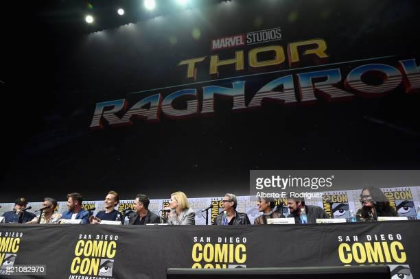 President of Marvel Studios and Producer Kevin Feige Director Taika Waititi actors Chris Hemsworth Tom Hiddleston Mark Ruffalo Cate Blanchett Jeff...