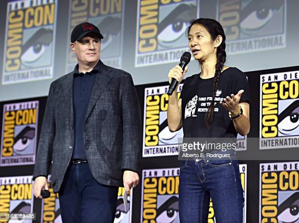 President of Marvel Studios Kevin Feige and director Chloe Zhao of Marvel Studios' 'The Eternals' at the San Diego Comic-Con International 2019...