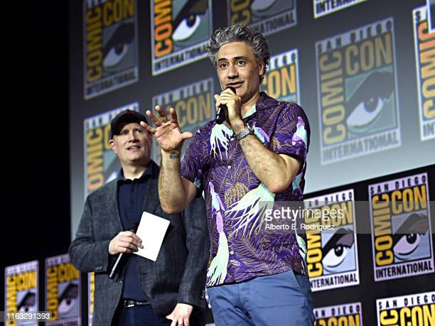 President of Marvel Studios Kevin Feige and director Taika Waititi of Marvel Studios' 'Thor: Love and Thunder' at the San Diego Comic-Con...