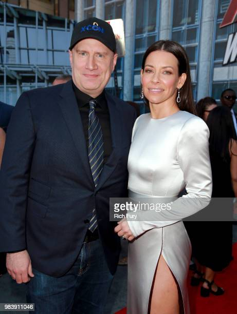 President of Marvel Studios Kevin Feige and Evangeline Lilly attend the premiere of Disney And Marvel's AntMan And The Wasp on June 25 2018 in Los...