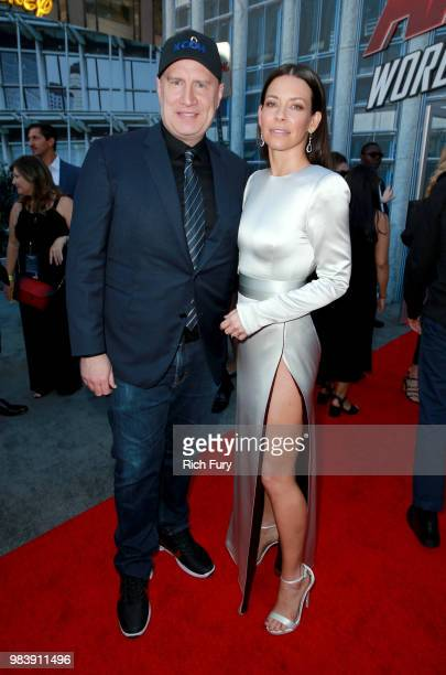 President of Marvel Studios Kevin Feige and Evangeline Lilly attend the premiere of Disney And Marvel's 'AntMan And The Wasp' on June 25 2018 in Los...