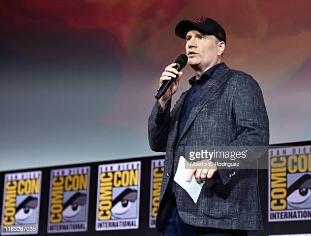 President of Marvel Studios Kevin Feige at the San Diego ComicCon International 2019 Marvel Studios Panel in Hall H on July 20 2019 in San Diego...
