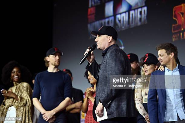 President of Marvel Studios Kevin Feige at the San Diego Comic-Con International 2019 Marvel Studios Panel in Hall H on July 20, 2019 in San Diego,...