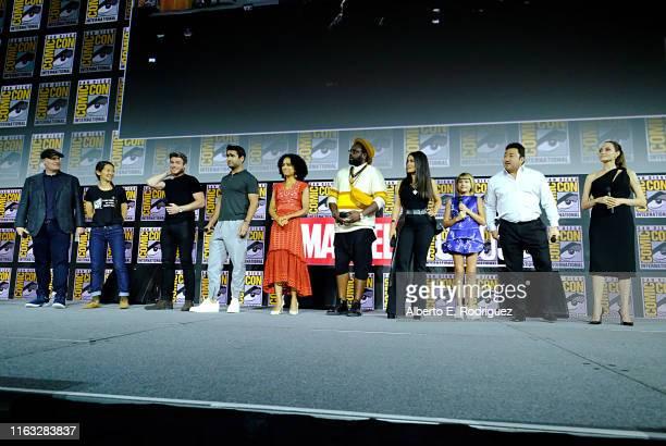 President of Marvel Studios Kevin Feige, director Chloe Zhao, Richard Madden, Kumail Nanjiani, Lauren Ridloff, Brian Tyree Henry, Salma Hayek, Lia...