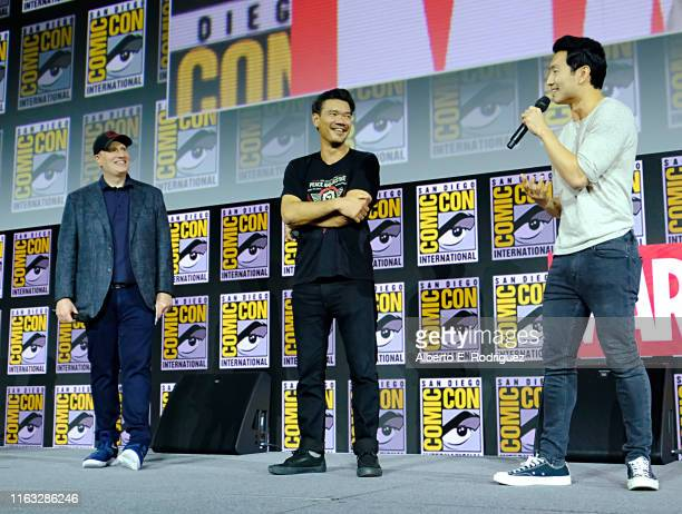 President of Marvel Studios Kevin Feige Director Destin Daniel Cretton and Simu Liu of Marvel Studios' 'ShangChi and the Legend of the Ten Rings' at...