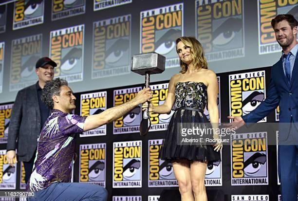 President of Marvel Studios Kevin Feige Director Taika Waititi Natalie Portman and Chris Hemsworth of Marvel Studios' 'Thor Love and Thunder' at the...