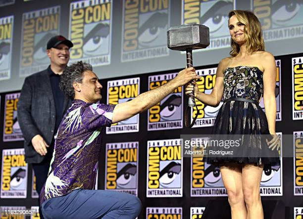 President of Marvel Studios Kevin Feige, Director Taika Waititi and Natalie Portman of Marvel Studios' 'Thor: Love and Thunder' at the San Diego...