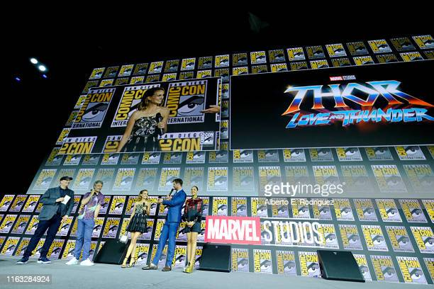 President of Marvel Studios Kevin Feige Director Taika Waititi Natalie Portman Chris Hemsworth and Tessa Thompson of Marvel Studios' 'Thor Love and...