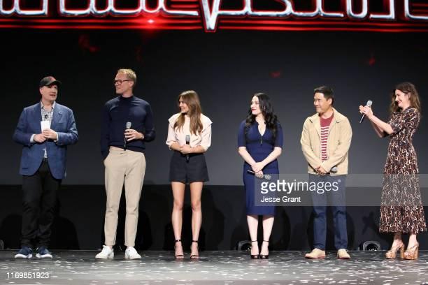 President of Marvel Studios Kevin Feige Paul Bettany Elizabeth Olsen Kat Dennings Randall Park and Kathryn Hahn of 'WandaVision' took part today in...