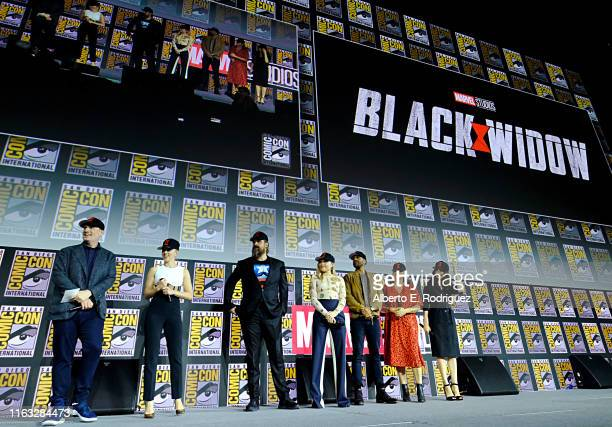 President of Marvel Studios Kevin Feige, Scarlett Johansson, David Harbour, Florence Pugh, O-T Fagbenle, Director Cate Shortland and Rachel Weisz of...