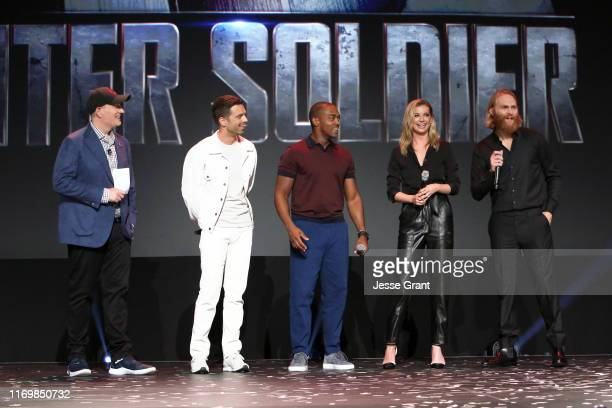 President of Marvel Studios Kevin Feige Sebastian Stan Anthony Mackie Emily VanCamp and Wyatt Russell of 'The Falcon and The Winter Soldier' took...