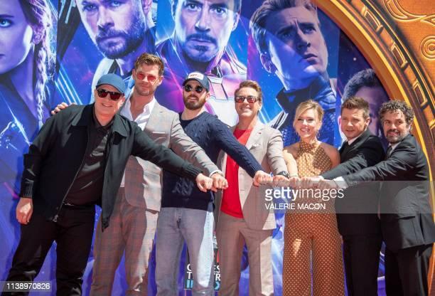 President of Marvel Studios/Producer Kevin Feige actors Chris Hemsworth Chris Evans Robert Downey Jr Scarlett Johansson Mark Ruffalo and Jeremy...