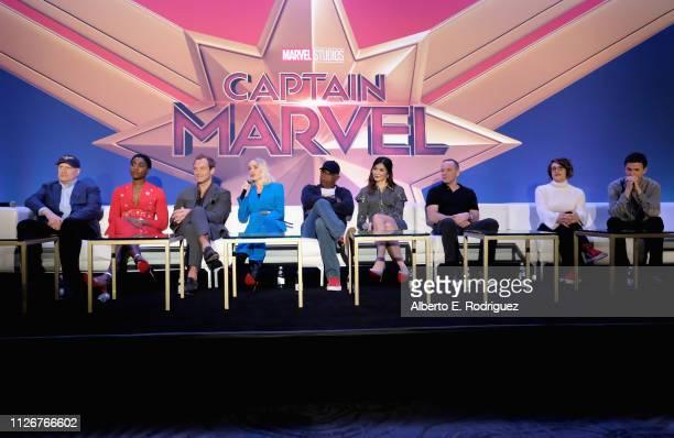 President of Marvel Studios/Producer Kevin Feige actors Lashana Lynch Jude Law Brie Larson Samuel L Jackson Gemma Chan Clark Gregg directors Anna...