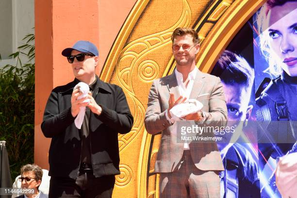 President of Marvel Studios/Producer Kevin Feige and Chris Hemsworth pose at the Marvel Studios' 'Avengers Endgame' Cast Place Their Hand Prints In...