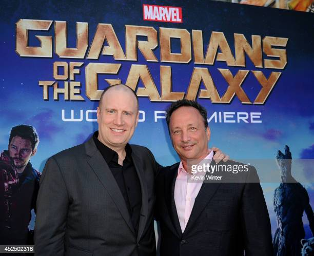 "President of Marvel Studios/producer Kevin Feige and executive producer Louis D'Esposito attend the premiere of Marvel's ""Guardians Of The Galaxy"" at..."