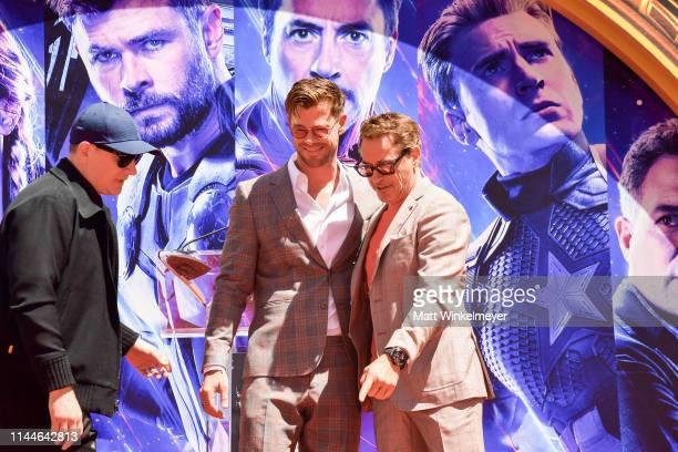President of Marvel Studios/Producer Kevin Feige, Chris Hemsworth and Robert Downey Jr. Pose at the Marvel Studios' 'Avengers: Endgame' Cast Place...
